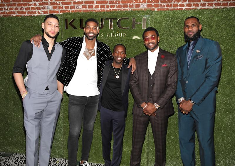 "LOS ANGELES, CA - FEBRUARY 17: Klutch Sports founder Rich Paul (C) poses with NBA Players Ben Simmons, Tristan Thompson, John Wall and Lebron James attend attends the Klutch Sports Group ""More Than A Game"" Dinner Presented by Remy Martin at Beauty & Essex on February 17, 2018 in Los Angeles, California. (Photo by Jerritt Clark/Getty Images for Klutch Sports Group)"