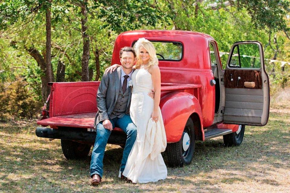 "<p>While the world was watching Prince William and Kate Middleton's royal wedding, country music fans were more interested in the nuptials of the first couple of country music, <a href=""http://www.countryliving.com/life/g2730/miranda-lambert-facts/"" rel=""nofollow noopener"" target=""_blank"" data-ylk=""slk:Miranda Lambert"" class=""link rapid-noclick-resp"">Miranda Lambert</a> and Blake Shelton. The now-divorced twosome hosted a <a href=""http://www.usmagazine.com/celebrity-style/news/blake-shelton-miranda-lamberts-wedding-i-do-details-2011195"" rel=""nofollow noopener"" target=""_blank"" data-ylk=""slk:down-home DIY affair"" class=""link rapid-noclick-resp"">down-home DIY affair</a> at a Texas ranch, complete with rustic decor and cowboy boots. </p>"