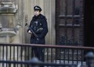 An armed police officer guards outside of the Houses of Parliament in central London, November 24, 2014. REUTERS/Toby Melville
