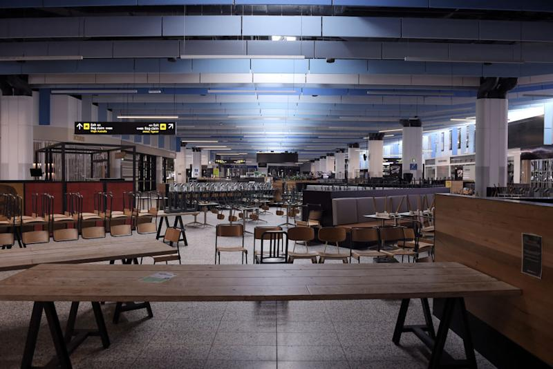 A food court is closed at Melbourne Airport as the coronavirus pandemic continues.
