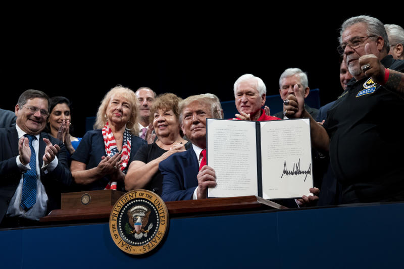 President Donald Trump during an executive order signing at The Villages in Florida, Oct. 3, 2019. President Donald Trump during an executive order signing at The Villages in Florida, Oct. 3, 2019
