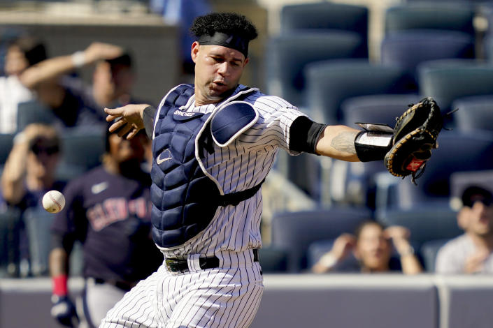 New York Yankees' Gary Sanchez misses a pop fly by Cleveland Indians' Oscar Mercado in the fifth inning of a baseball game, Saturday, Sept. 18, 2021, in New York. (AP Photo/John Minchillo)