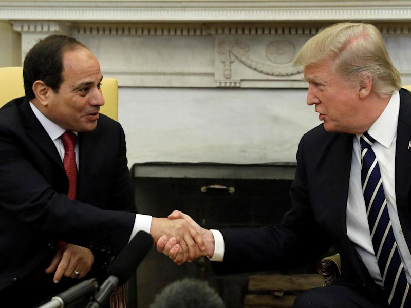 US President Donald Trump shakes hands with Egyptian President Abdel Fattah al-Sisi in the Oval Office of the White House: Reuters