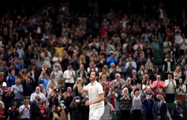 Andy Murray celebrates after beating Nikoloz Basilashvili in another Centre Court thriller at Wimbledon