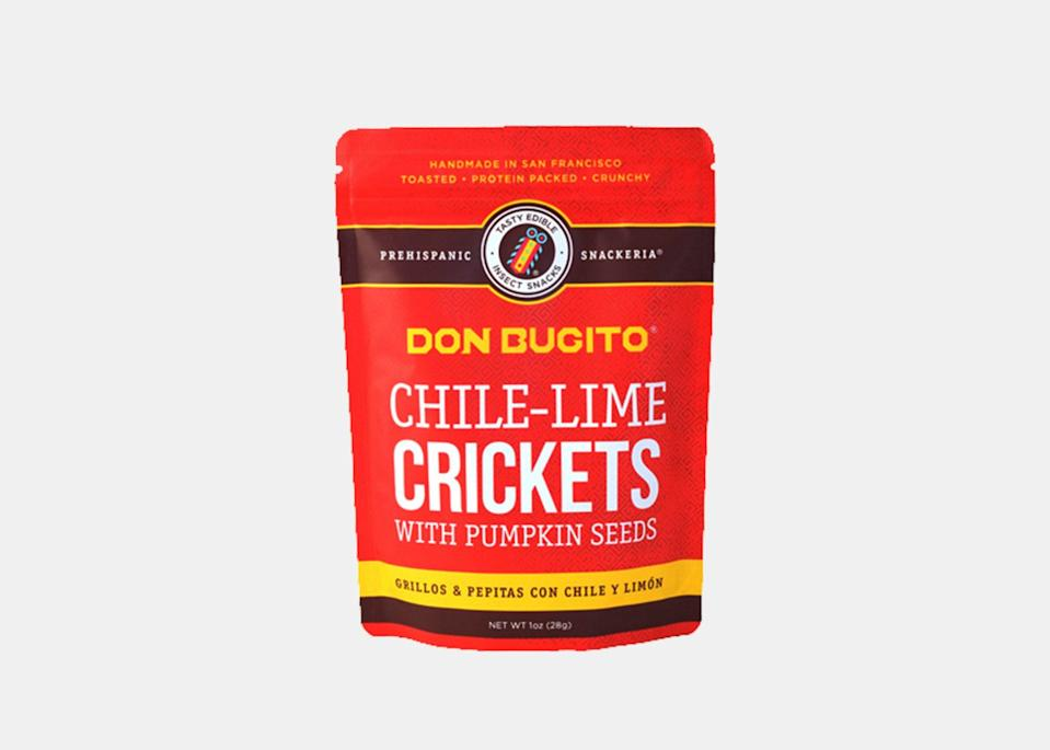 """Don Bugito's founder Monica Martinez grew up eating insects like crickets and mealworms in Mexico. Inspired by her upbringing, and the fact that insects are a protein-packed <a href=""""https://time.com/5942290/eat-insects-save-planet/"""" rel=""""nofollow noopener"""" target=""""_blank"""" data-ylk=""""slk:sustainable food source"""" class=""""link rapid-noclick-resp"""">sustainable food source</a>, Martinez created Don Bugito to share delicious insect snacks with the world. Standouts in the lineup include dark chocolate covered crickets with amaranth seeds and granola bites with cricket flour. The chile-lime crickets are savory with a nice kick and make for easy afternoon snacking."""