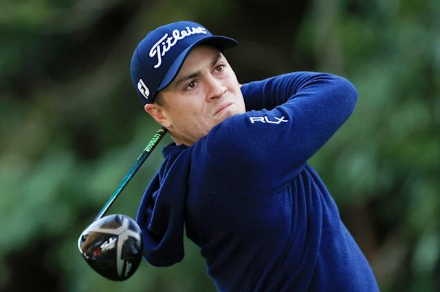 "<h1 class=""title"">Genesis Invitational - Round Two</h1> <div class=""caption""> PACIFIC PALISADES, CALIFORNIA - FEBRUARY 14: Justin Thomas of the United States plays his shot from the 12th tee during the second round of the Genesis Invitational at Riviera Country Club on February 14, 2020 in Pacific Palisades, California. (Photo by Chris Trotman/Getty Images) </div> <cite class=""credit"">Chris Trotman</cite>"