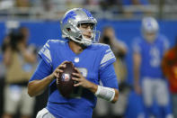 Detroit Lions quarterback Jared Goff throws during the first half of a preseason NFL football game against the Buffalo Bills, Friday, Aug. 13, 2021, in Detroit. (AP Photo/Duane Burleson)