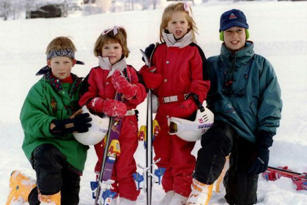 Here cousins Prince William, Prince Harry, Princess Eugenie, and Princess Beatrice (daughters of Prince Andrew and Fergie) are shown together on a family ski trip. The princesses made big news at the wedding of Will and Kate last year with their interesting wardrobe choices.<br>