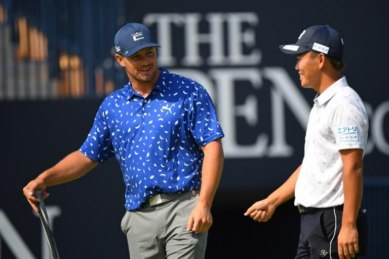 Bryson DeChambeau (left) is playing the British Open for the first time since piling on extra muscle to gain distance to his drives
