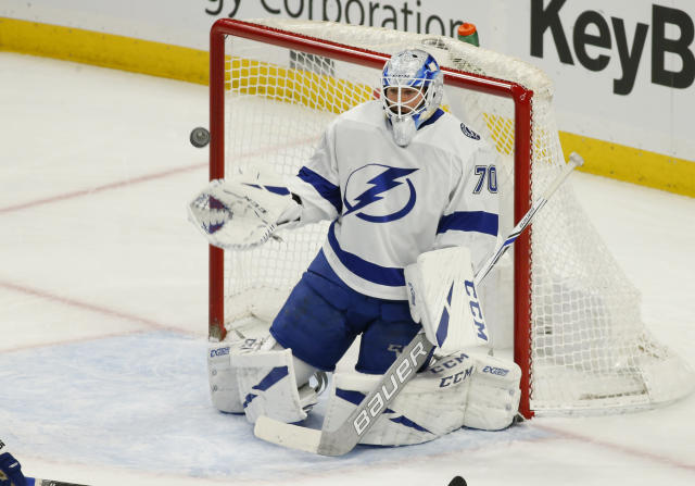 Tampa Bay Lightning goalie Louis Domingue (70) makes a save during the first period of an NHL hockey game against the Buffalo Sabres, Saturday, Jan. 12, 2019, in Buffalo N.Y. (AP Photo/Jeffrey T. Barnes)