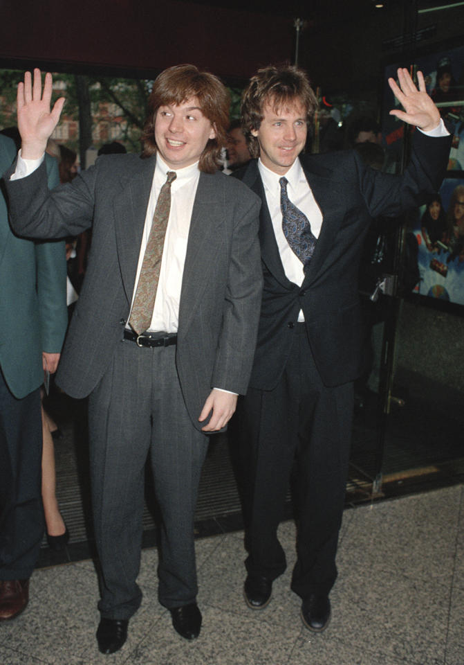 <p>'Wayne's World' opened in the U.K. on May 21, 1992, three months after it debuted in the U.S. Its leads made the trip for the London premiere. (Photo: Dave Benett/Getty Images) </p>