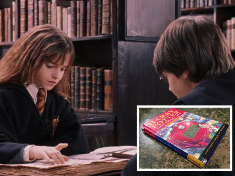 A scene of Hermione and Harry Potter in the library, with a photo of the rare Harry Potter first edition.