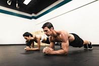 <p><strong>You'll need: A bench, chair, box or step</strong></p><p>All you need for this four-move circuit is a flat bench, box, chair or even a step. You're kicking things off with some fancy footwork. </p><p><strong>1A) Bench Toe Taps: 20 reps, go straight to next move</strong><br><br>Start with one foot on the bench. Now hop up with the other foot as you simultaneously hop down with the other. Then alternate to tap your feet onto the bench as fast as you are able. Go straight to the next move.<strong><br></strong></p><p><strong>1B) Bench Dips: 10 reps, go straight to next move</strong><br><br>As soon as you've finished your Bench Toe Tap, spin around and place your hands on the bench. Keep your feet flat on the floor and bend your knees slightly.<br><br>Flex at the elbow to bring yourself down towards the ground, until you feel a good stretch in your triceps. Push hard through your hands to bring yourself back to the start. Go straight to the next move.</p><p><strong>1C) Lateral Step-Overs: 20 reps, go straight to next move</strong></p><p>Jump back up again and stand to the right side of the bench, with your left foot on top. Push through your left heel and raise your body up onto the bench. Touch down on the bench with your right foot, while hopping your left foot down to the other side. Drive back up and repeat, alternating each rep. Go straight to the next move.<strong><br><br></strong></p><p><strong>1D) Bulgarian Split Squats: 20 reps, rest 60 seconds, then go back to the bench toe taps. Do 3 circuits</strong><br><br>Finally, spin around to face away from the bench, with one foot resting on the bench behind you. The top of your foot should be in contact, rather than your toes. Squat with your standing leg until the knee of your trailing leg almost touches the floor.<br><br>Then push through your front foot to stand back up. Do 10 reps on one side and then switch to the other. Rest for 60 seconds and then start the circuit again with 1A\ Bench Toe Taps. Do 3 c
