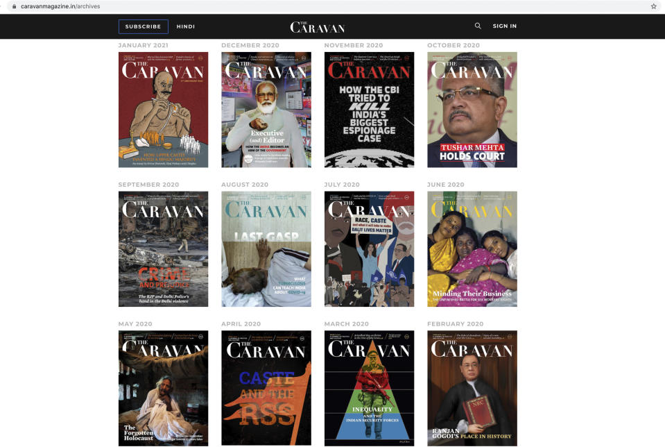 This photo made from the web page of The Caravan, India's leading investigating magazine, shows covers of the magazine's past issues, on Friday, Feb. 5, 2021. When Vinod K. Jose, executive editor of the magazine logged onto Twitter on Monday, he was shocked to find the magazine's account blocked. Jose was already dealing with a case of sedition and other charges against him, the magazine owners and a freelance journalist. At the heart of the allegations is the magazine's coverage of the ongoing farmers' protests that have gripped India for more than two months. (AP Photo)