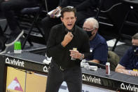 Utah Jazz coach Quin Snyder shouts to his team during the first half of the team's NBA basketball game against the Los Angeles Clippers on Friday, Jan. 1, 2021, in Salt Lake City. (AP Photo/Rick Bowmer)