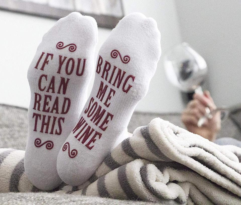 <p>These <span>If You Can Read This Bring Me Some - Novelty Socks </span> ($8) are great stocking stuffers.</p>