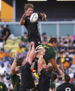 New Zealand's Ethan Blackadder wins a lineout during the Rugby Championship test match between the Springboks and the All Blacks in Townsville, Australia, Saturday, Sept. 25, 2021. (AP Photo/Tertius Pickard)