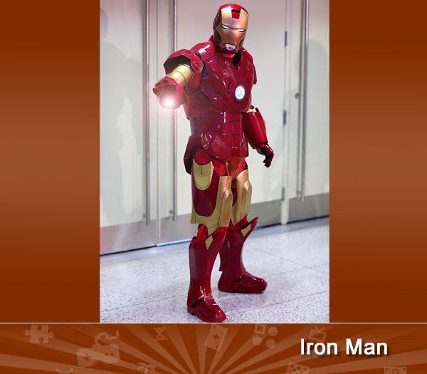 "IRON MAN -- He might not be the First Avenger but he's certainly the most well known. This particular cosplayer looks every bit the ""cool exec with a heart of steel"" as he prepares to blast us with his (hopefully non-functioning) repulsor rays.<br><br>(photo provided by <a target=""_blank"" href=""http://www.flickr.com/photos/grantbrummett/4652451790"">Grant Brummett</a>)"