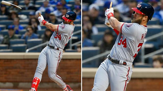 Bryce Harper connects for a home run despite his bat breaking.