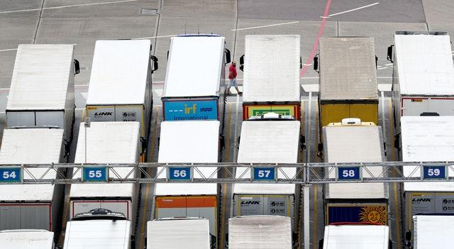 Lorries wait to cross the Channel at the Port of Dover in Kent