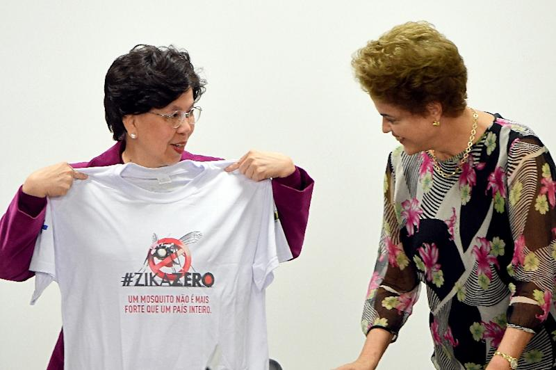 The director general of the World Health Organization Margaret Chan (L), and Brazilian President Dilma Rousseff, hold a meeting to talk about the Zika virus at Planalto Palace in Brasilia, on February 23, 2016