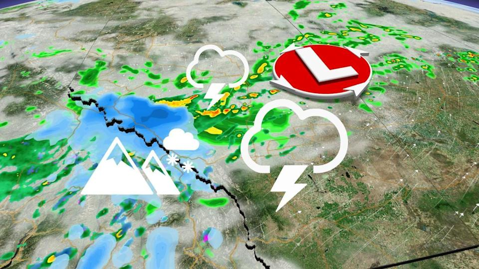Thunderstorm risk on the Prairies, some alpine regions see snow