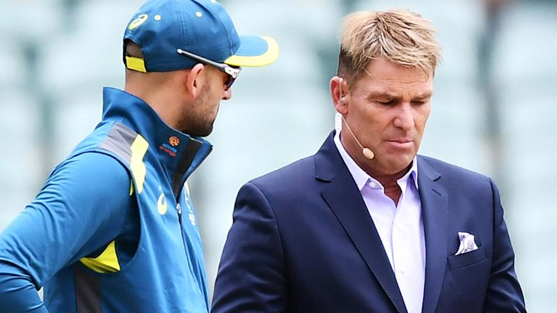 Shane Warne, pictured here chatting to Nathan Lyon before a Test match.
