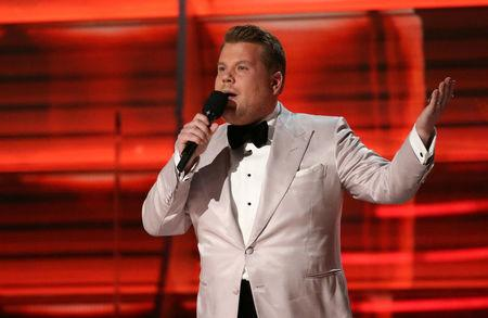 FILE PHOTO:  Show host James Corden speaks at the 59th Annual Grammy Awards in Los Angeles, California, U.S. on February 12, 2017. REUTERS/Lucy Nicholson/File Photo