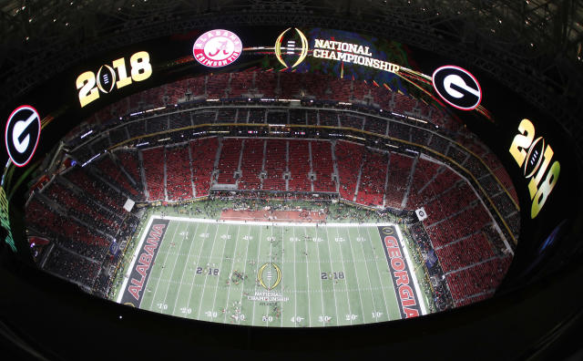 Mercedes-Benz Stadium field is seen before the NCAA college football playoff championship game between Georgia and Alabama, Monday, Jan. 8, 2018, in Atlanta. (AP Photo/John Bazemore)