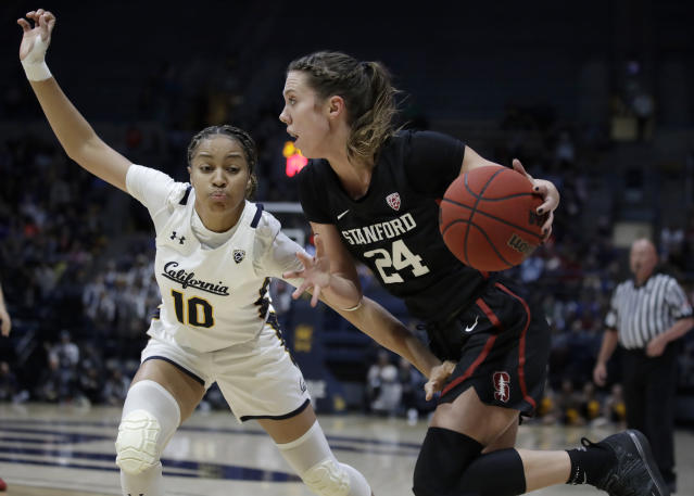 Stanford's Lacie Hull, right, drives the ball against California's Jazlen Green (10) in the first half of an NCAA college basketball game Sunday, Jan. 12, 2020, in Berkeley, Calif. (AP Photo/Ben Margot)