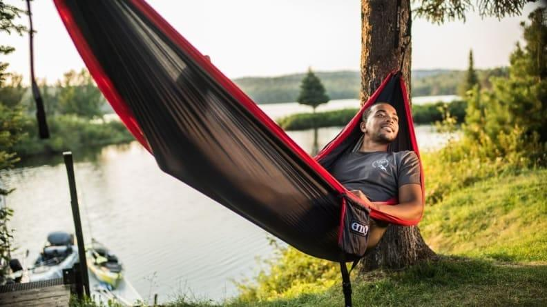 This cozy hammock can accommodate two people at a time.