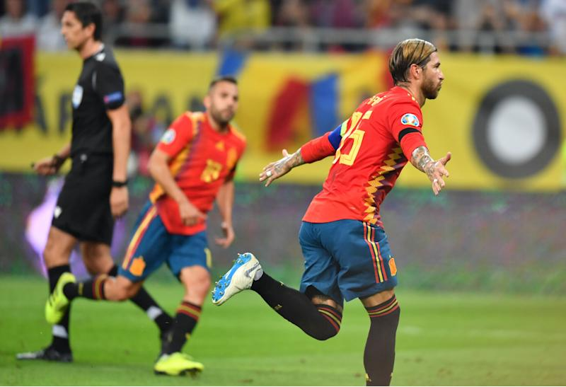 Spain's defender Sergio Ramos (R) celebrates scoring with his team-mates during the Euro 2020 football qualification match between Romania and Spain in Bucharest, Romania, on September 5, 2019. (Photo by Daniel MIHAILESCU / AFP) (Photo credit should read DANIEL MIHAILESCU/AFP/Getty Images)