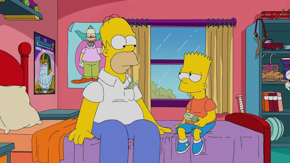 Homer Simpson (voiced by Dan Castellaneta) and Bart Simpson (voiced by Nancy Cartwright) talking