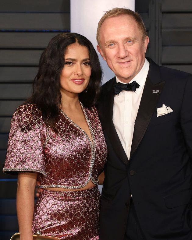 Salma Hayek and François-Henri Pinault attend the 2018 Vanity Fair Oscar Party on March 4, 2018, in Beverly Hills, California. (Photo: Taylor Hill via Getty Images)