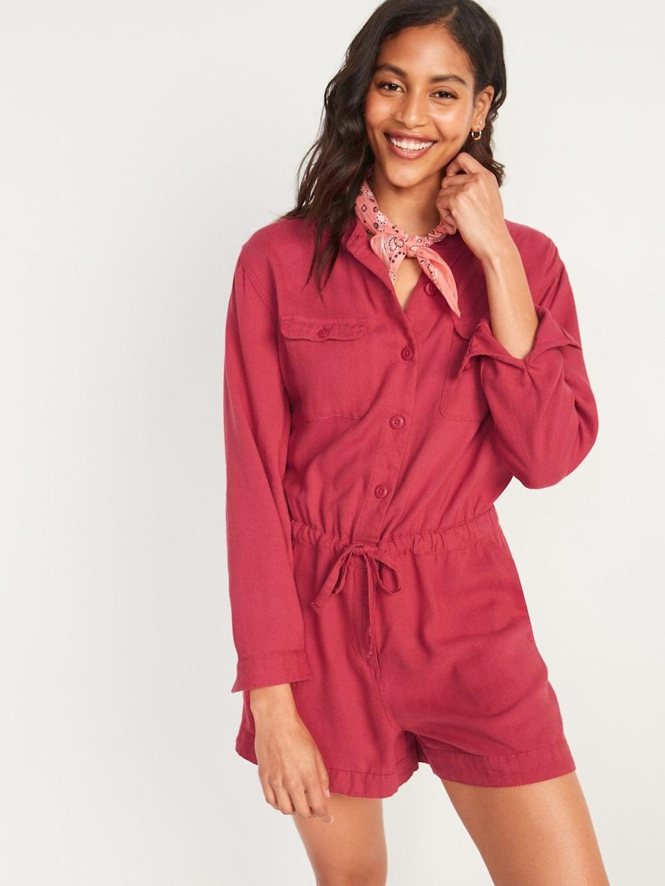 <p>We love this red <span>Old Navy Long-Sleeve Utility Romper</span> ($45).</p>