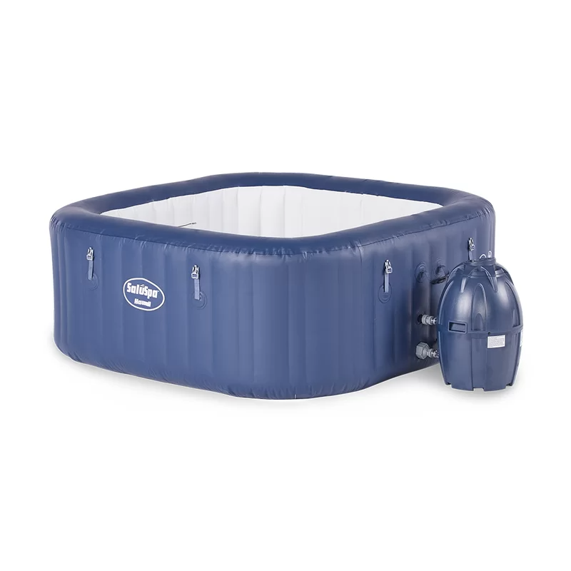 """<h2>Coleman Jet Square Inflatable Hot Tub</h2><br>This sweet square-shaped tub is roomy enough to fit six people, heats up to 104 degrees in just minutes, features soothing air jets and a cushioned floor.<br><br><strong>Capacity: </strong>6 people<br><strong>Features: </strong>Digital control panel, timer-controlled heating system, 140 jets, water filtration system.<br><strong>Includes:</strong> Reinforced cover with safety clips, pool liner, pool cover, chlorine chemical floater, air pad protector, and repair patch.<br><br><strong>Coleman</strong> Jet Square Inflatable Hot Tub, $, available at <a href=""""https://go.skimresources.com/?id=30283X879131&url=https%3A%2F%2Fwww.wayfair.com%2Foutdoor%2Fpdp%2Fcoleman-hawaii-portable-6-person-60-jet-inflatable-hot-tub-bctw1286.html"""" rel=""""nofollow noopener"""" target=""""_blank"""" data-ylk=""""slk:Wayfair"""" class=""""link rapid-noclick-resp"""">Wayfair</a>"""