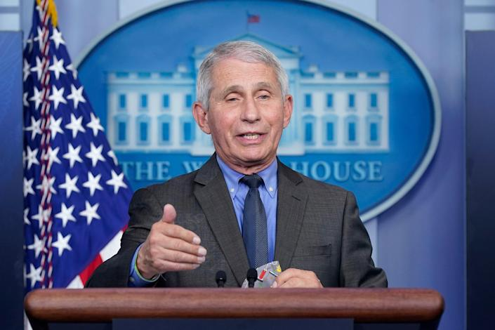 <p>Dr Fauci has said that masks might not be advised to be worn indoors</p> (AP)