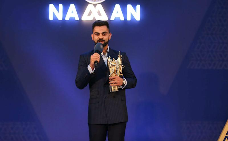 Indian cricket team's captain Virat Kohli received the Polly Umrigar Award for his stupendous performances in the 2016-17 and 2017-18 seasons. PTI