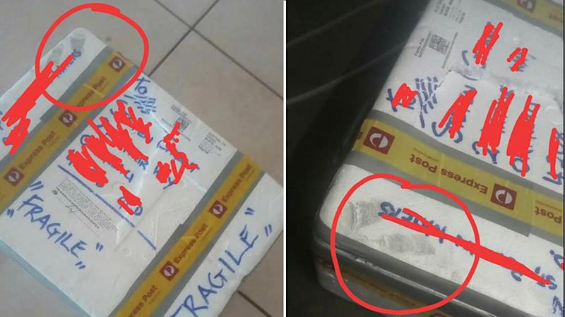 Images of the woman's parcel with circles around where a AusPost worker reportedly stepped. Source: Facebook
