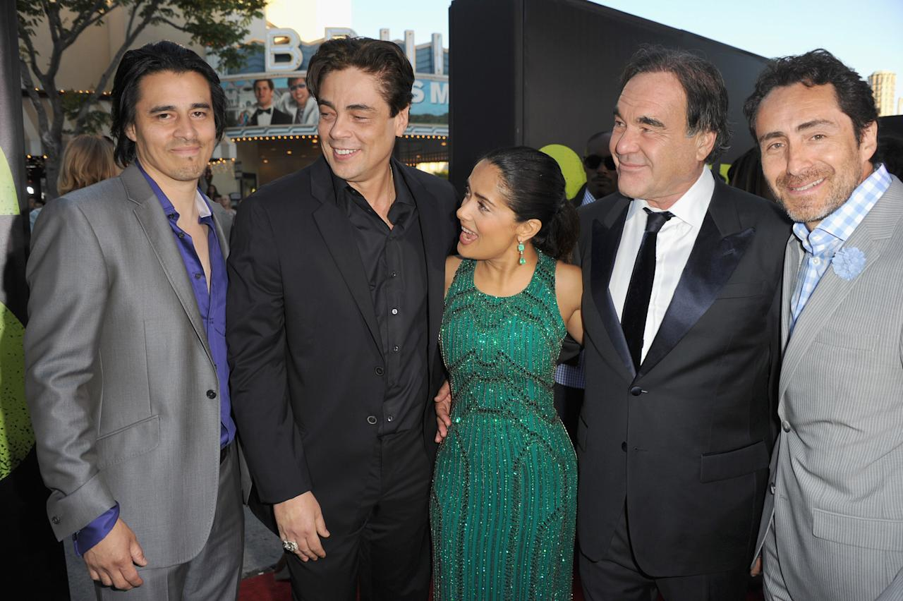 "LOS ANGELES, CA - JUNE 25:  Actors Antonio Jaramillo, Benicio Del Toro,  Salma Hayek, director Oliver Stone and Demian Bichir arrive at Premiere of Universal Pictures' ""Savages""  at Westwood Village on June 25, 2012 in Los Angeles, California.  (Photo by Kevin Winter/Getty Images)"