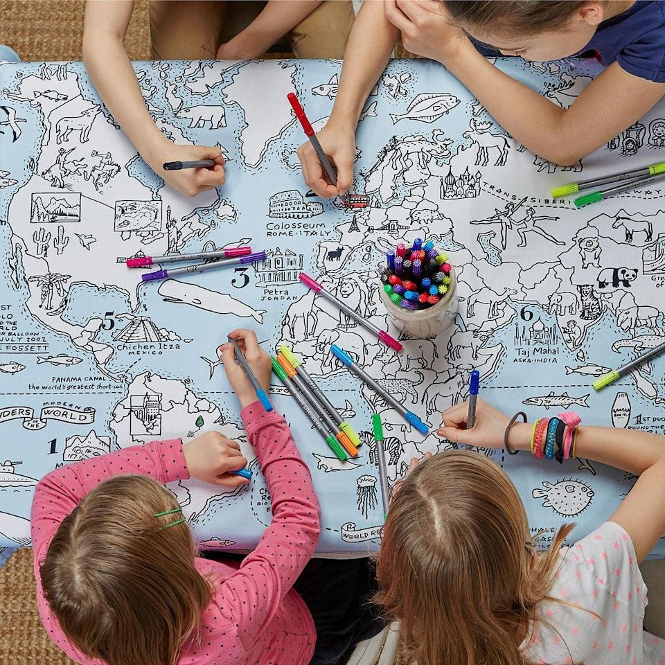 <p>This cool <span>World Map Coloring Tablecloth</span> ($30) will become an awesome creation.</p>