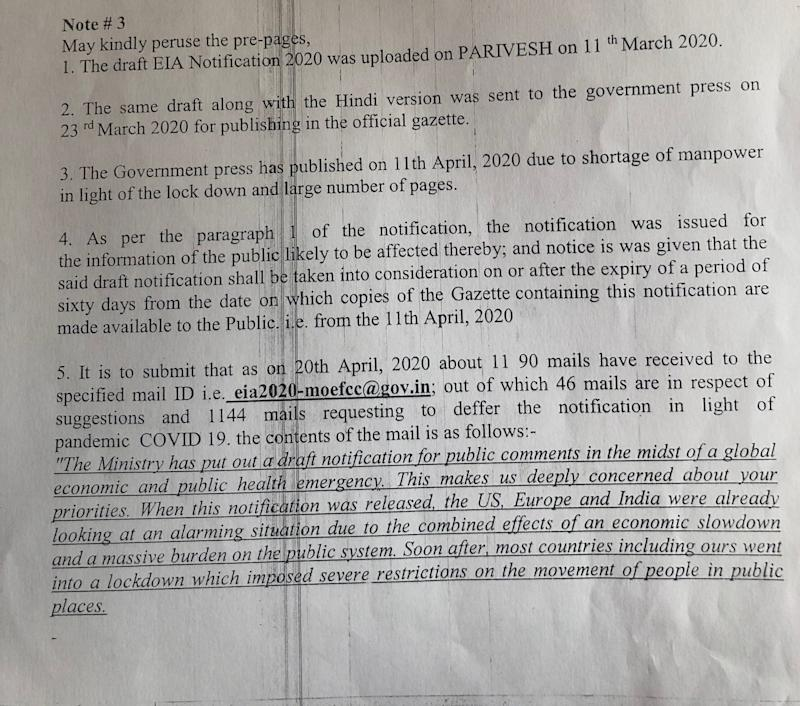 First page of the environment ministry's internal note explaining the beginning of the public consultation process for the draft EIA notification 2020. It doesn't mention LetIndiaBreathe campaign by name but uses the exact text of the campaign's email. (Photo: HuffPost India )