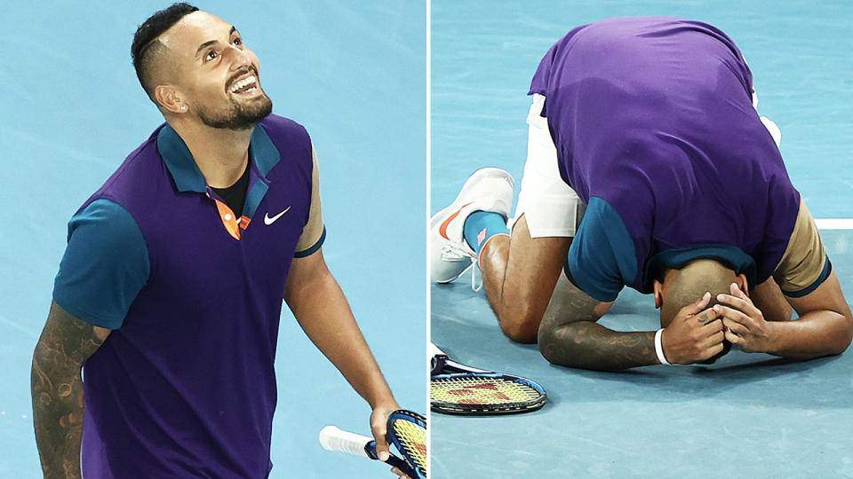 Nick Kyrgios, pictured here after his incredible win at the Australian Open.