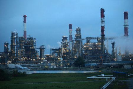 A view shows the French oil giant Total refinery in Donges