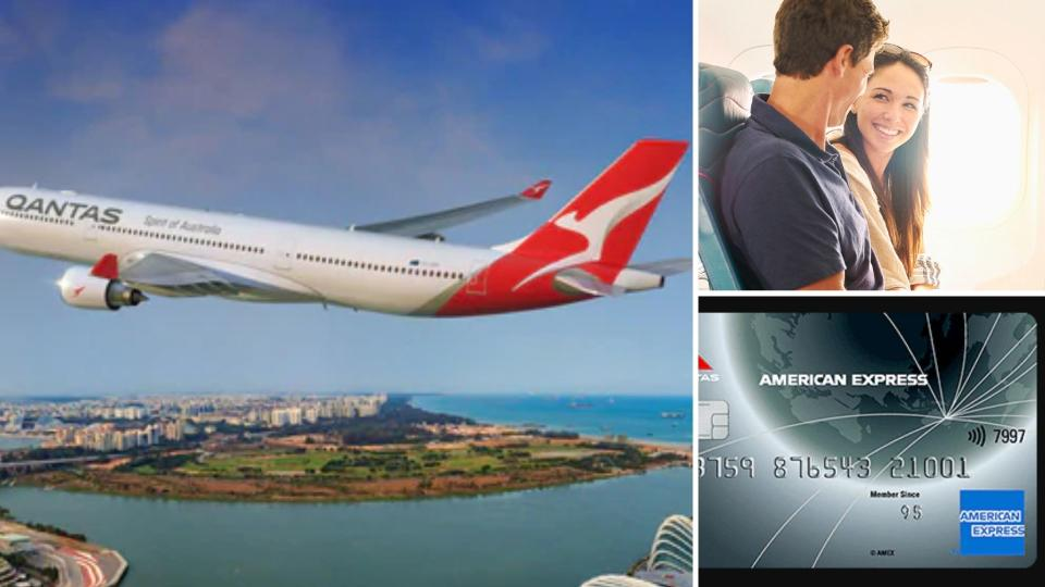 Qantas plane on the left, a happy couple on the upper right and an American Express card in the lower right.
