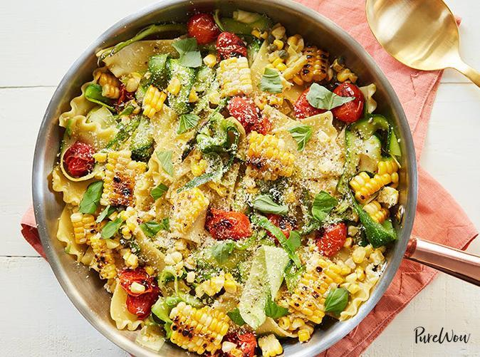 """<h2>6. Cheater's Skillet Lasagna with Corn and Cherry Tomatoes</h2> <p>Get all the cheesy goodness you're craving in just 35 minutes, no layering required.</p> <p><a class=""""link rapid-noclick-resp"""" href=""""https://www.purewow.com/recipes/cheaters-skillet-lasagna"""" rel=""""nofollow noopener"""" target=""""_blank"""" data-ylk=""""slk:Get the recipe"""">Get the recipe</a></p>"""