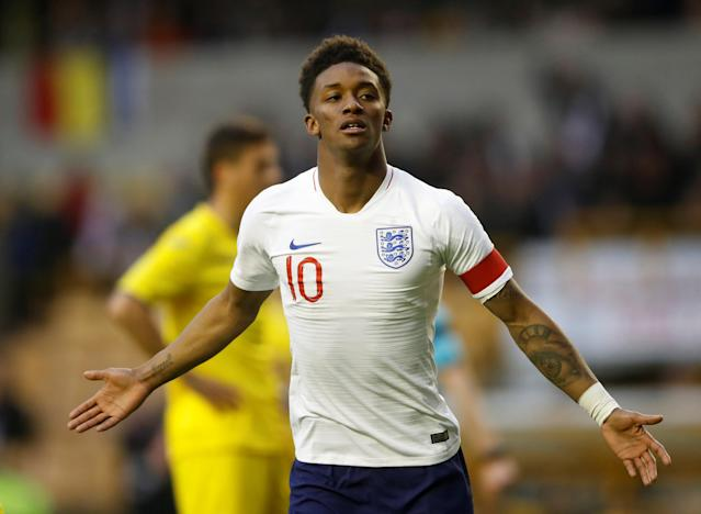 Soccer Football - Under 21 International Friendly - England vs Romania - Molineux Stadium, Wolverhampton, Britain - March 24, 2018 England's Demarai Gray celebrates scoring their first goal Action Images via Reuters/Carl Recine