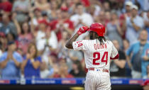 Philadelphia Phillies' Roman Quinn tips his hat to the crowd after hitting a home run during the third inning of the team's baseball game against the Chicago White Sox, Friday, Aug. 2, 2019, in Philadelphia. (AP Photo/Laurence Kesterson)