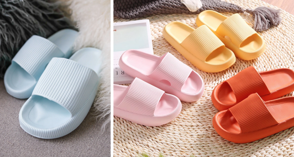 different coloured Pillow slippers and cloud slides