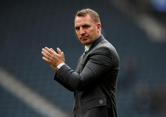 Soccer Football - Scottish Cup Semi Final - Celtic vs Rangers - Hampden Park, Glasgow, Britain - April 15, 2018 Celtic manager Brendan Rodgers applauds the fans after the match Action Images via Reuters/Lee Smith